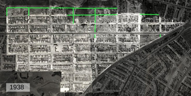 1938 aerial photos, from davidrumsey.com. Unpaved or completely undeveloped roads marked in green.