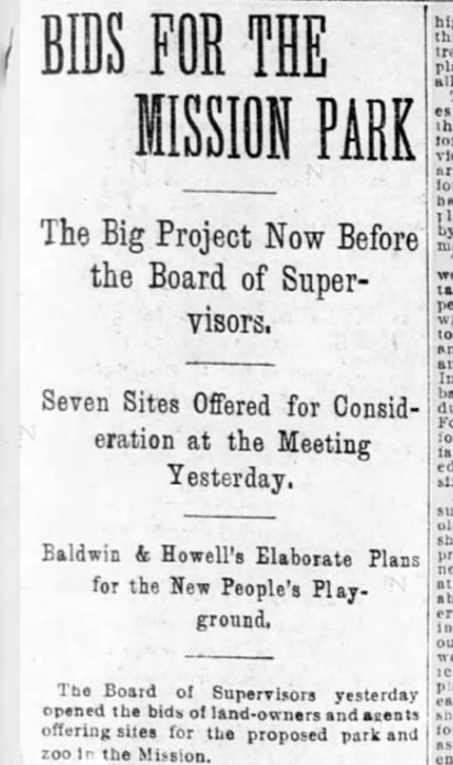 Various neighborhoods asking for public parks. One of the seven proposals for locations was a large chunk of the San Miguel Rancho that lay just north of Sunnyside, another was the present Glen Canyon. SF Call, 13 July 1897.