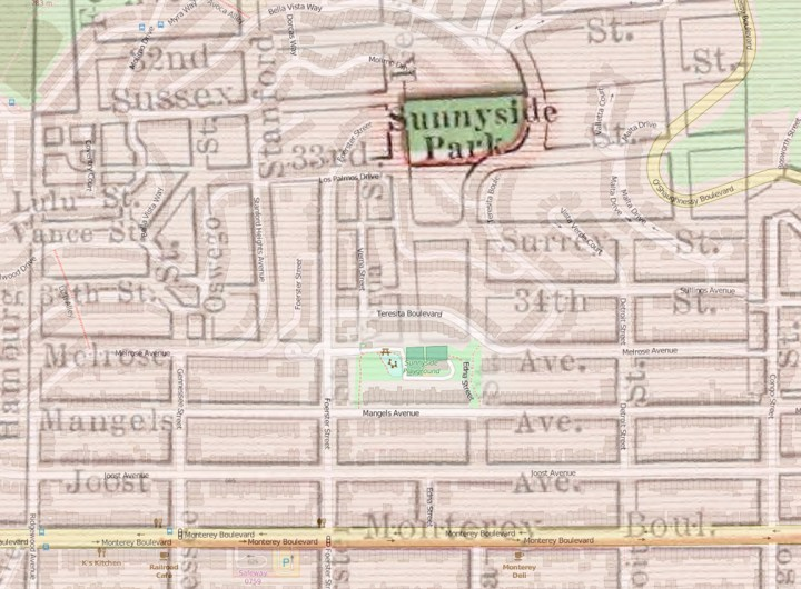 Composite of 1924 Rand McNally map and 2016 OpenStreetMap, showing position of first planned Sunnyside Park in relation to current Playground. 1924 map from DavidRumsey.com. 2016 from OpenStreetMap.org.
