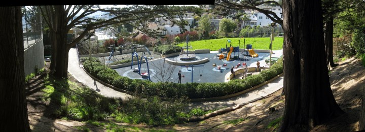 View of the children's play area at Sunnyside Playground, Foerster Street and Melrose Avenue, San Francisco. Photo: Amy O'Hair.