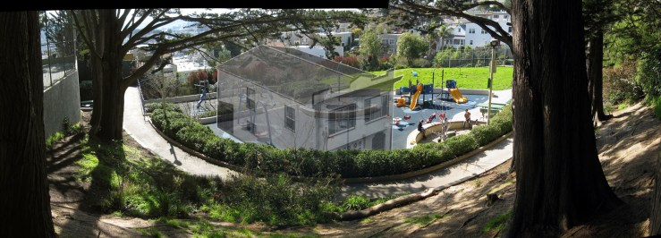 Imaginary montage showing where the lone house once stood in the playground before it was removed and construction began. Photo and alterations: Amy O'Hair.