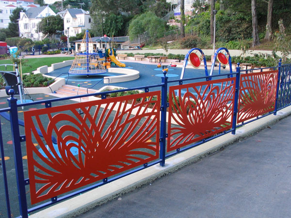 Deborah Kennedy's artwork in steel for Sunnyside Playground, 2008. Photo: sfartscommission.org