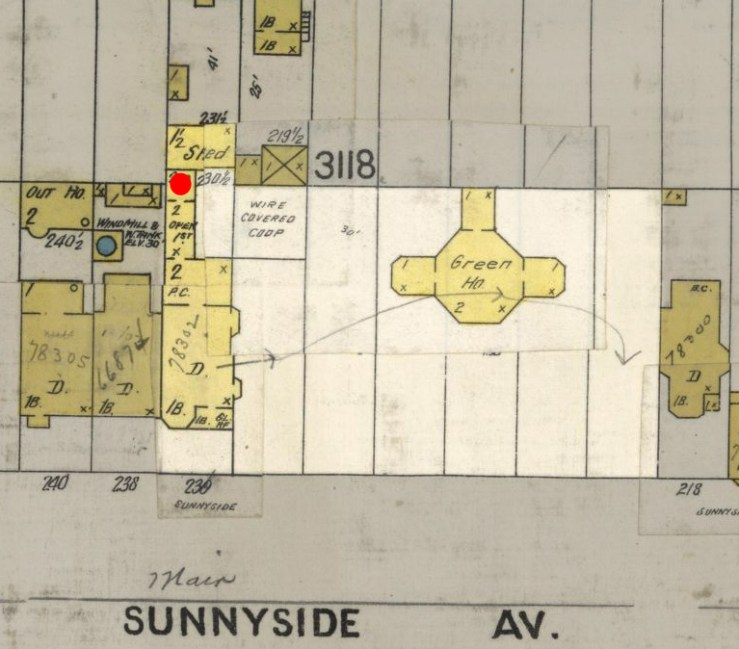 Portion of 19055 Sanborn map, showing the house at 236 Sunnyside Ave, with conservatory ('Green Ho.'), back buildings, large shed, and observatory (red dot).