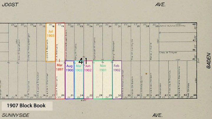 Modified 1907 San Francisco Block Book map for old Block 41 (now 6770), showing dates that Lizzie A. Merralls acquired the lots where the Sunnyside Conservatory would be built, likely after the last was bought, June 1902.