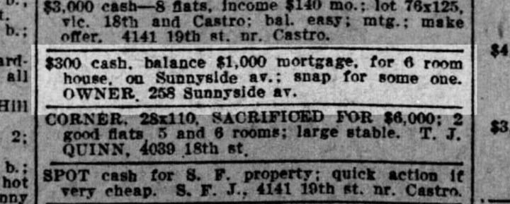 Ad for a house on Sunnyside Ave, offered by the Merralls'. Which house the ad refers to cannot be definitively determined. SF Call, 9 February 1913. From newspapers.com.