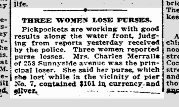 Eline Merralls loses a purse. SF Chronicle, 12 July 1915.