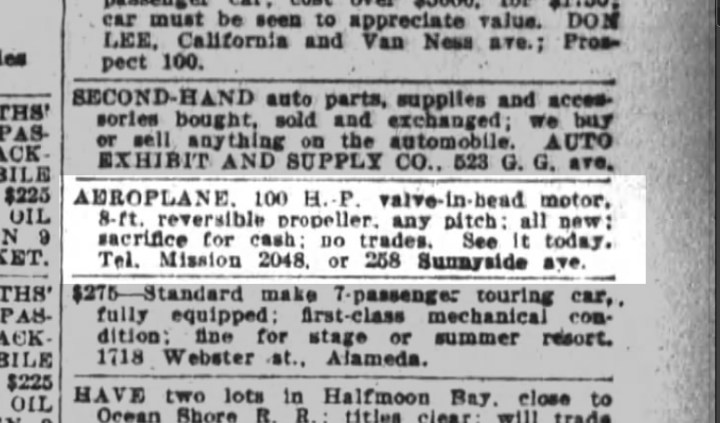 Classified ad: Temperance Merralls selling WIlliam's prized aeroplane. SF Chronicle, 25 July 1915.