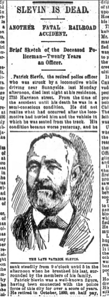 Patrick Slevin dies of injuries after being hit by a Southern Pacific train. SF Chronicle, 7 March 1895.