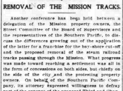 Editorial noting concessions are all on the side of the city, in favor of Southern Pacific. SF Chronicle, 14 Feb 1903.