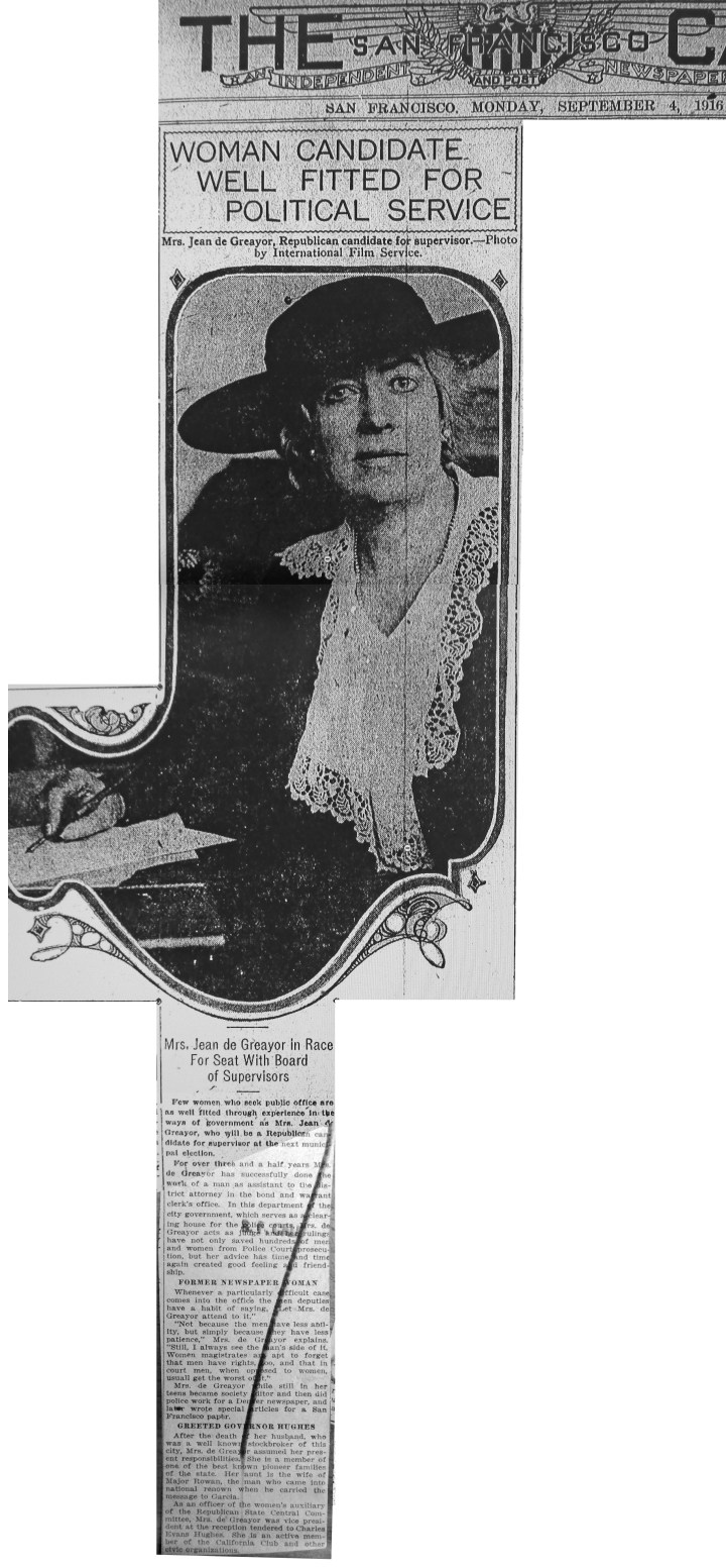 De Greayer considering run for SF Board of Supervisors. SF Call, 4 Sept 1916. She did not run.