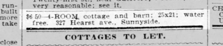 SF Call, 9 July 1899. 327 Hearst Ave was 319 Moulton Ave before the City's reshuffle of street names and numbers in 1896..