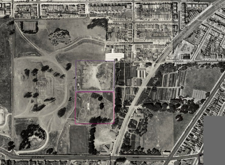 1938 aerial photo, altered to show location men's jail (purple) and womens' jail (pink) shortly after buildings demolished. From DavidRumsey.com. Click for larger image. https://i1.wp.com/sunnysidehistory.org/wp-content/uploads/2017/05/1938-aerial-balboapark-inglesidejail-marked.jpg?resize=739%2C542&ssl=1