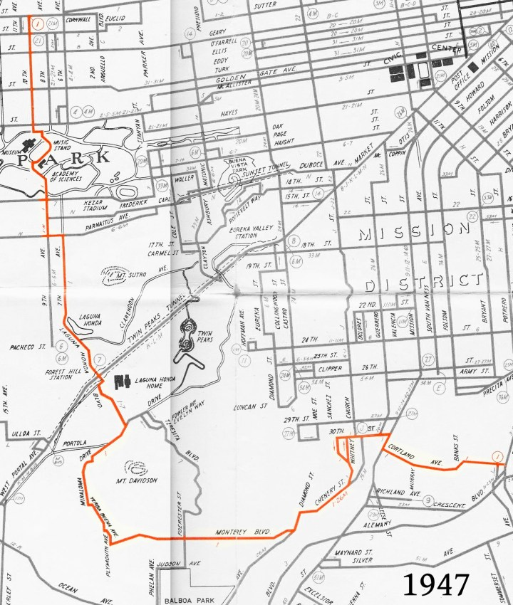 1947 Muni Map, showing bus line no.10, going from California Street over to Cortland and Bayshore. From Eric Fischer's collection of transit maps. https://www.flickr.com/photos/walkingsf/sets/72157622642861802