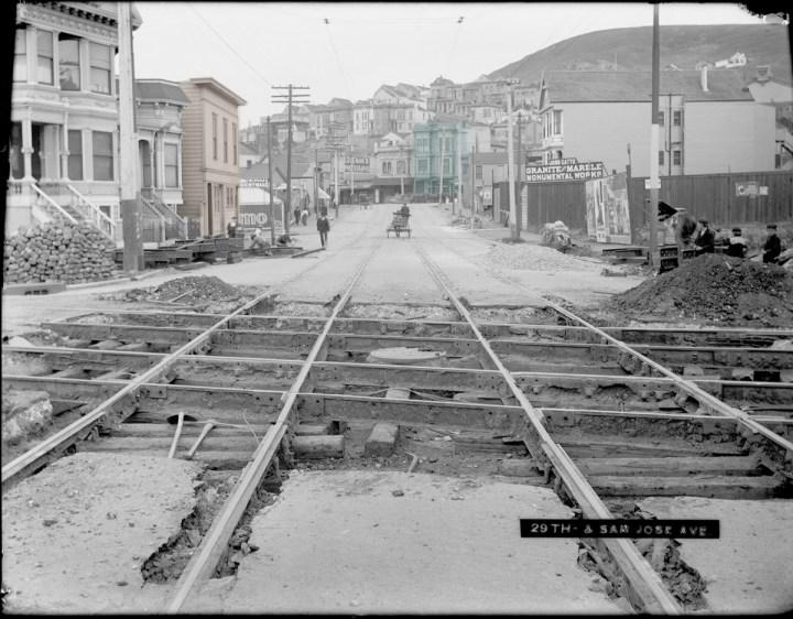 1904, Twenty-ninth Street between San Jose and Mission. Photo courtesy SFMTA sfmta.photoshelter.com.