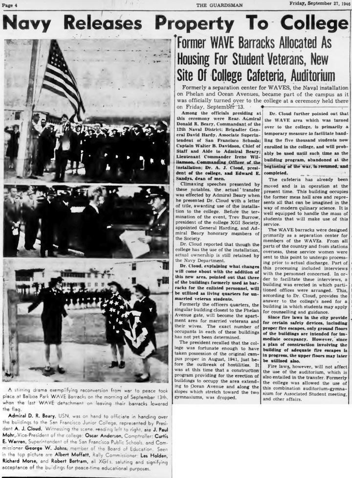 1946Sep27-Guardsman-CCSF-ceremony-WAVEs-west-campus