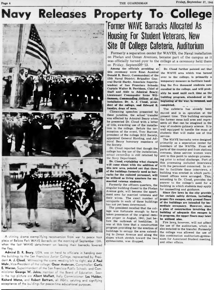 1946Sep27-Guardsman-CCSF-ceremony-WAVEs-west-campus