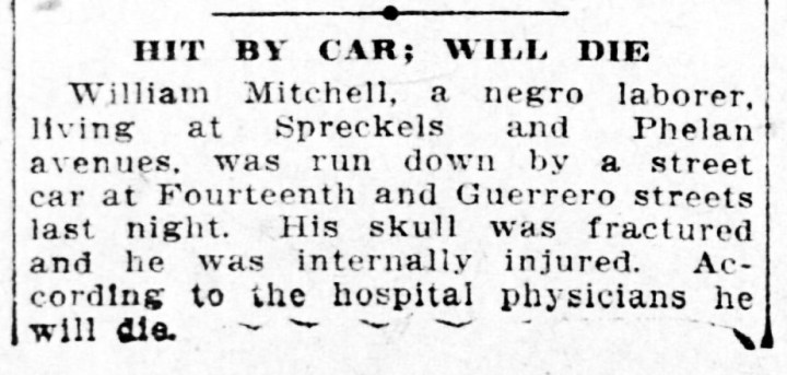 1907Nov6-Call-p16-laborer-hit-by-car-lived-Phelan-Ave