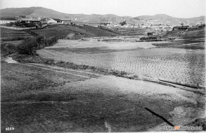 1915. Looking north from Rome and Ottawa Streets, Outer Mission. Sunnyside directly to the north in distance. http://opensfhistory.org/Display/wnp27.0484.jpg