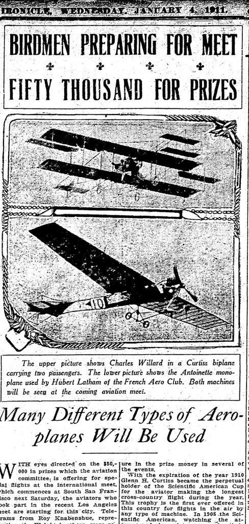 1911Jan04-Chronicle-Birdmen-prepare