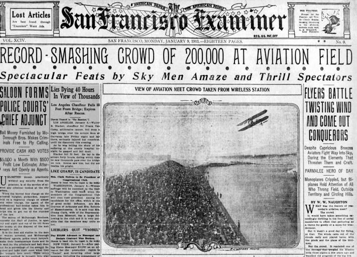 1911Jan09-Examiner-p1-record-smashing-aviation-meet