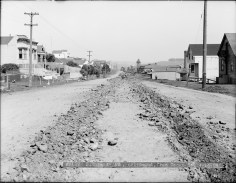 April 1909. Monterey Blvd near Congo Street, looking east. Workers Breaking Ground for New Tracks. Image courtesy SFMTA. sfmta.photoshelter.com