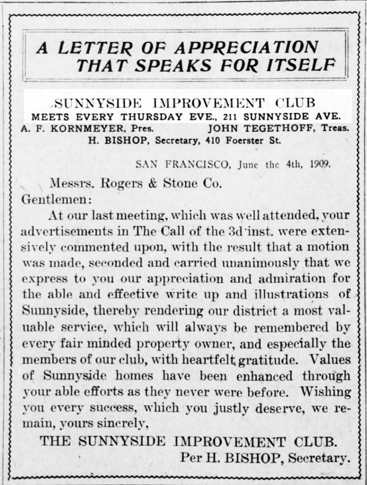 SF Call, 11 Jun 1909.