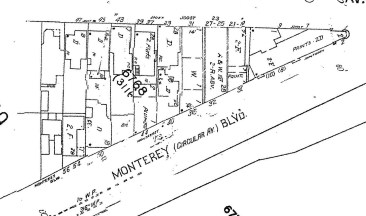 1990s Sanborn map, showing the first block of Monterey Blvd.