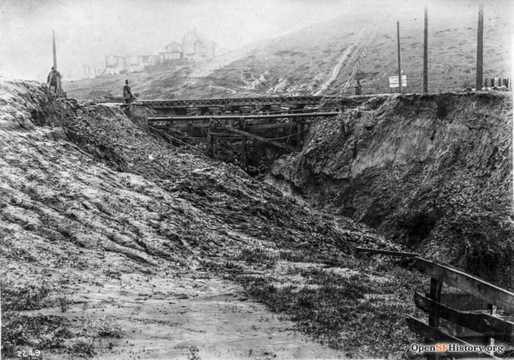 19 Feb 1915. Washout at Monterey Blvd at Edna St. OpenSFHistory.org