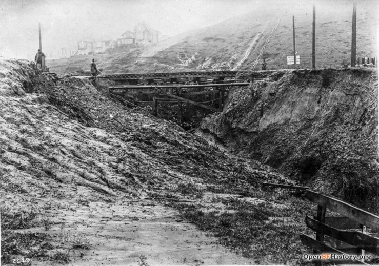 19 Feb 1915. Washout at Monterey Blvd at Edna St. OpenSFHistory.org