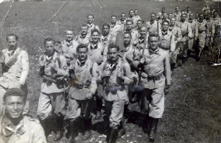 1944c. Saverio Versaggi on a march with the Bersaglieri (front row, on right). Photo courtesy Charles Versaggi.