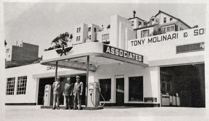 1949c. Tony Molinari's service station, 300 Monterey Blvd. Photo courtesy Michelle Molinari.
