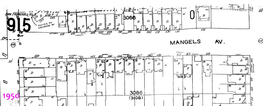 1950 Sanborn map, 600 block of Mangels Ave.