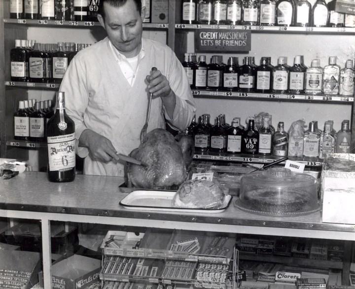 1965c. Saverio Versaggi as proprietor of Sam's Vienna Delicatessen. Photo courtesy Charles Versaggi.