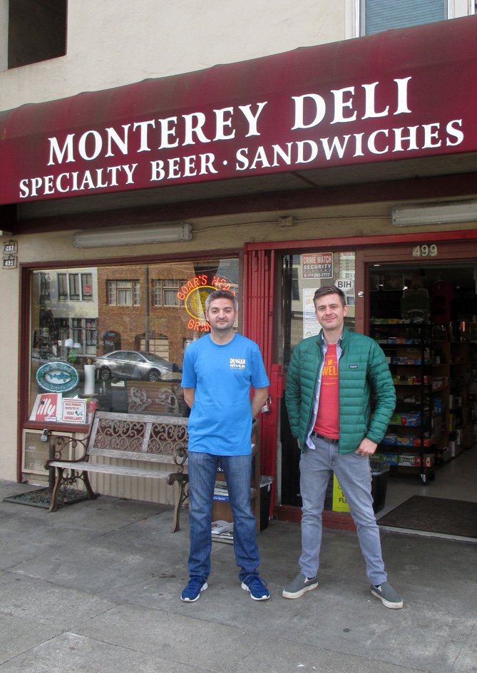 2019. Proprietor Almir Zalihic and one of his employees, Ben. Monterey Deli. Photo: Amy O'Hair.