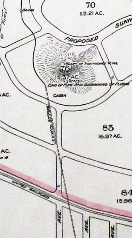1910. Detail from Map of Forest Tract and San Miguel Ranch showing Lands owned by the Estate of Adolph Sutro. Spring Valley Water Works pipe indicated in original map. California Historical Society.