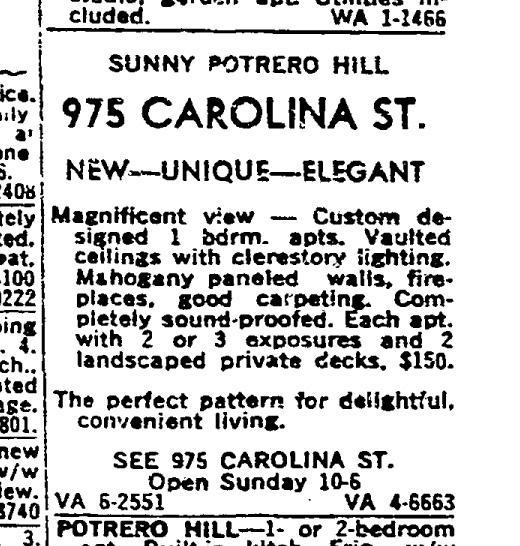 SF Chronicle, 10 Sep 1961. For 975 Carolina Street.
