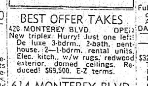 SF Chronicle, 24 Nov 1963. For 420 Monterey.