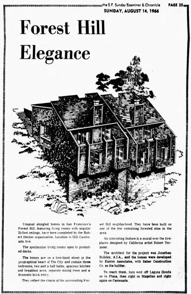 SF Examiner, 14 Aug 1966. Feature, 25-35 Castenada Ave.