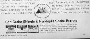 House and Home, November 1966. Ad for the Red Cedar Shingle and Handsplit Shake Bureau.