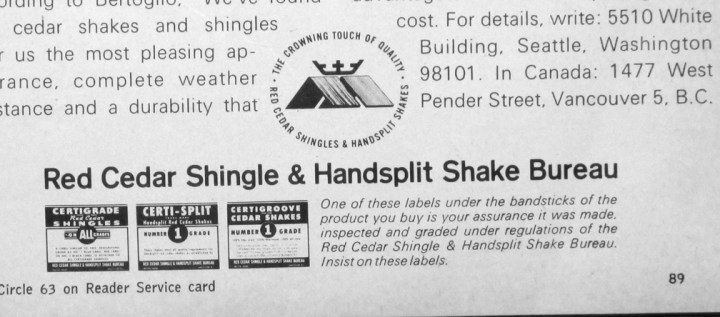 House and Home, November 1966. Ad for the Red Cedar Shingle and Handsplit Shake Bureau.