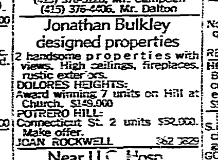 SF Chronicle, 3 Dec 1967. For 300 Hill and 671(?) Connecticut Street.