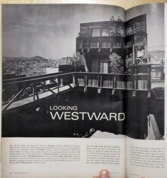 "Progressive Architecture, July 1967. Image of rear exterior, with ""bridge-deck."" 975 Carolina Street, built 1961. Designed by Bulkley."