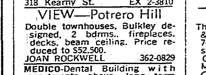 SF Chronicle, 14 May 1967. For 671-677 Connecticut Street.