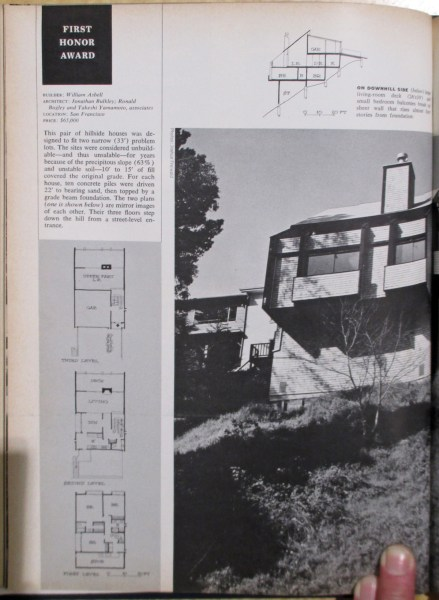 House and Home, August 1968. Feature and award: 25-35 Castenada Ave, built 1966. Designed by Bulkley.