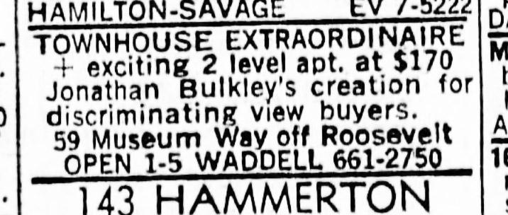 SF Examiner, 28 Jul 1968. For 58 Museum Way.