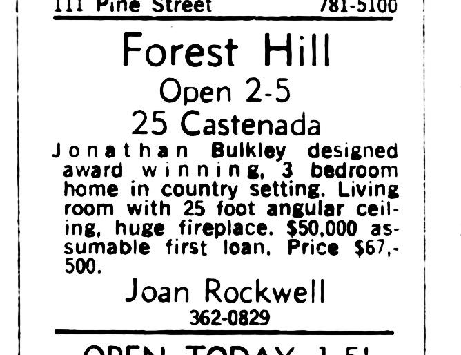 SF Examiner, 19 Jan 1969. For 25 Castenada Ave.