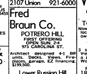 SF Chronicle, 22 Oct 1978. For 975 Carolina St.