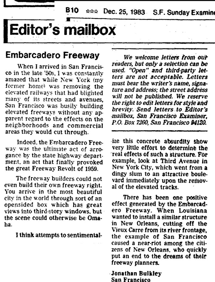 SF Examiner, 25 Dec 1983. Bulkley's letter to the editor regarding the Embarcadero Freeway.