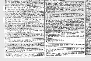 A sprinkling of classified ads, SF Chronicle, 26 May 1891.