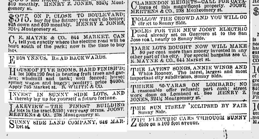 EDIS YNNUS! SF Chronicle, 28 May 1891.